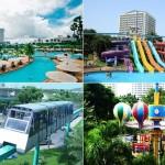 پارک تفریحی و پارک آبی پاتایا (Pattaya Park) ، نقطه عطفی در ساحل جامتین (Jomtien) ، با یک برج شناخته شده با 240 متر ارتفاع .