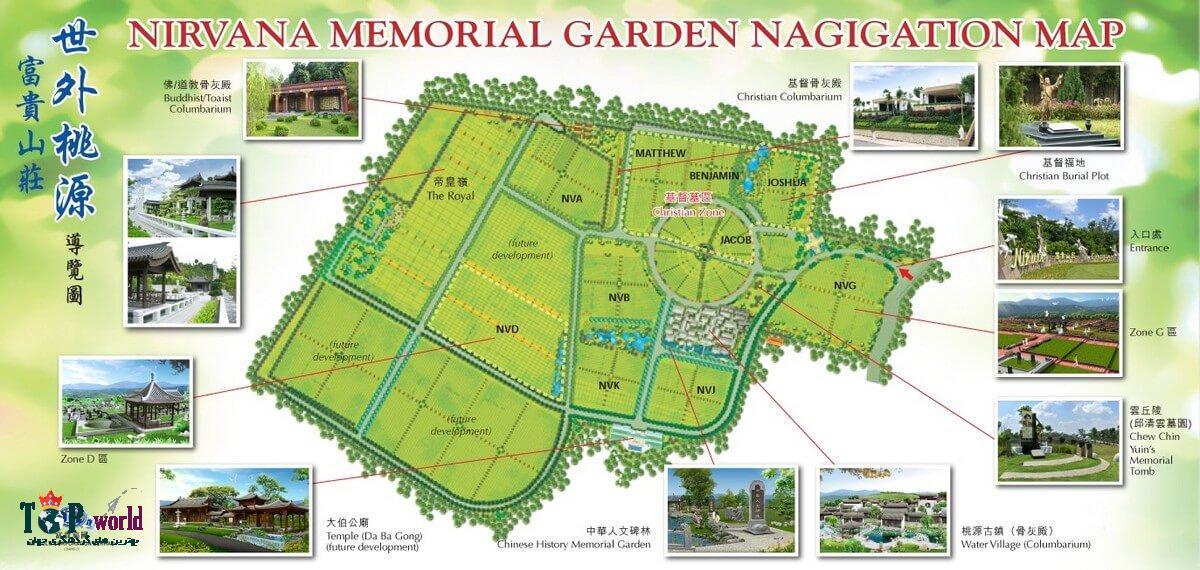 باغ یادبود نیروانا در نزدیکی درب خروجی پارک یادبود نیروانا قرار دارد. باغ یادبود نیروانا و یا باغ یادبود مسیحیان مکانی برای دفن (قبرستان) سازگار با محیط زیست ، محیطی بسیار آرام و با اصول فنگ شویی و طراحی معاصر است.