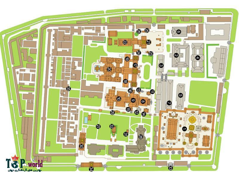 کاخ بزرگ شامل ساختمان های متعدد، سالن ها، کاخ های تابستانی ، مجموعه فضای سبز ، باغ و حیاط است